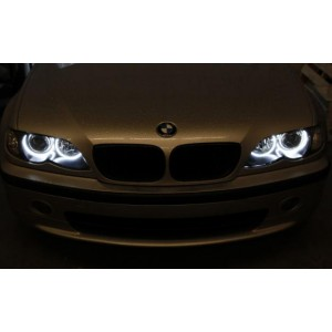 4 anneaux n on ccfl blanc angel eyes pour bmw e46 phare halogene. Black Bedroom Furniture Sets. Home Design Ideas