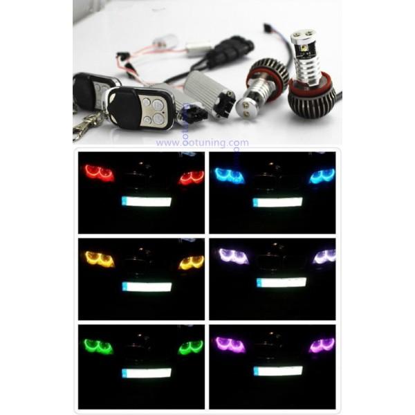 2 ampoules led angel eyes h8 multi couleurs rgb pour bmw. Black Bedroom Furniture Sets. Home Design Ideas