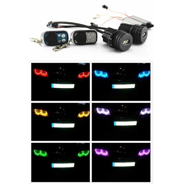 2 Ampoules Led Angel Eyes Multi Couleurs Rgb Pour Bmw E90 E91