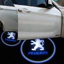 2 Modules d'éclairage à led projective logo Peugeot pour bas de porte